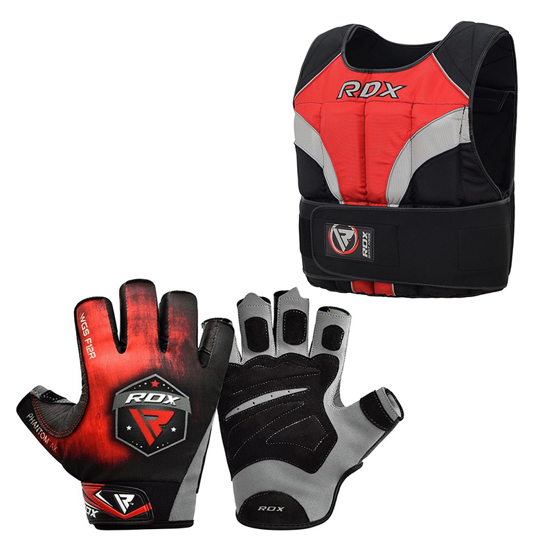RDX T1 Gym Gloves And Adjustable Weighted Vest