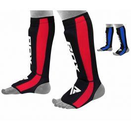RDX leather shin guard pads medium size blue colour by Fuzon Sports
