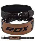 RDX 4 Inch Brown Leather Gym Belt