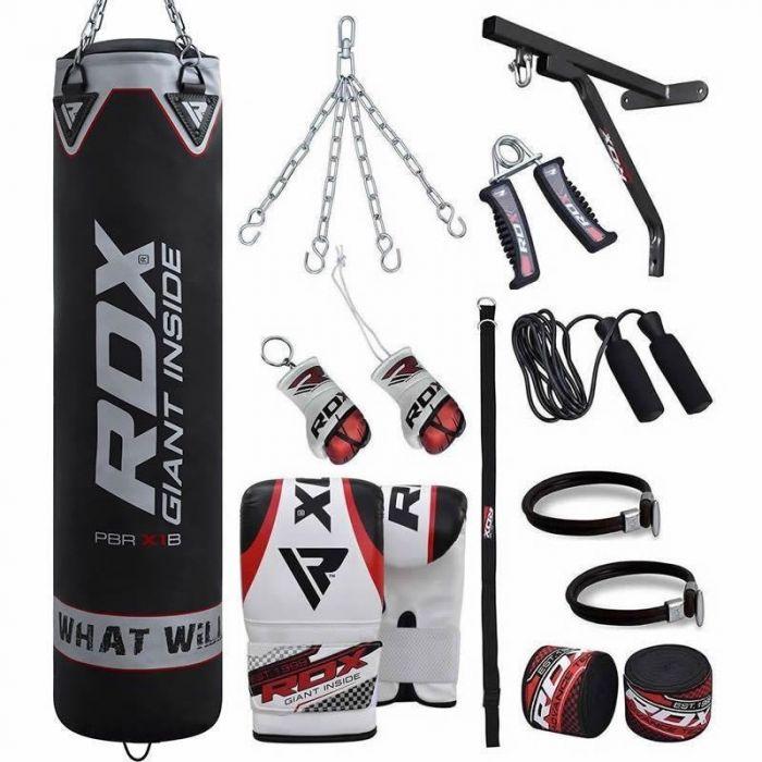 3pcs//Set Red Punching Bag Boxing Exercise Taekwondo Fitness Sandbag Chain Hook