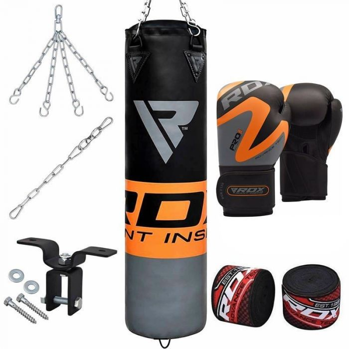 RDX Punching Bag 13 Piece Boxing Set 4FT 5FT Unfilled Heavy Bag Gloves Ceiling Hook Chains Training MMA Punching Bags