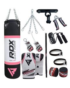 RDX X4 Pink 4ft Filled 13pc Punch Bag set with Mitts
