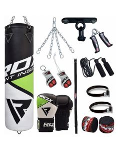RDX 13pc FG Boxing Bag & Gloves Set Filled 4 ft 12oz