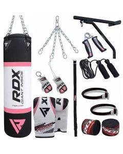 RDX X2 Pink 4ft Filled 17pc Punching Bag Set