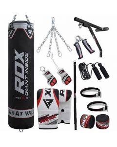 RDX X1 Black 4ft Filled 17pc Punching Bag Set
