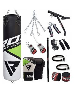 RDX 17pc FG Punching Bag & Gloves Set 4 ft Filled 12oz