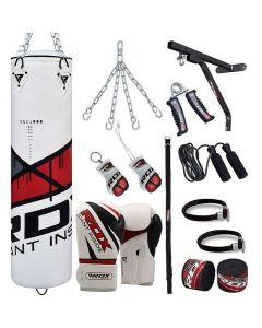 RDX Ego 4ft Unfilled 17pc Punch Bag Set With 16oz Gloves
