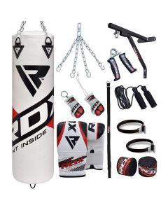 RDX F10 White 4ft Filled 17pc Punching Bag Set