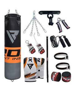 RDX 12O Orange 4ft Filled 13pc Punch Bag set with Mitts