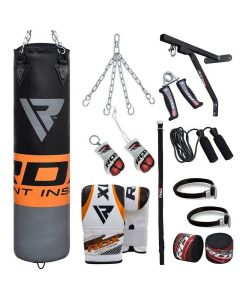 RDX F12 Orange 4ft Filled 17pc Punching Bag Set