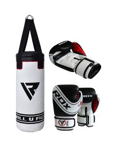 2ft Filled Heavy Punch Bag Custom Build Punching Set,Head Guard,Gloves,Blue,MMA