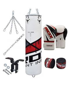 RDX F7 Ego Red 4ft Filled 8pc Punch Bag with 12oz Boxing Gloves