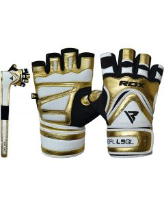 Golden Small Leather Bodybuilding Gym Gloves