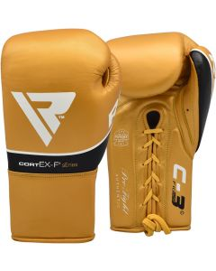 RDX C3 8oz Golden Leather Professional Boxing Gloves