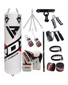 RDX F10 White 4ft Filled 13pc Punch Bag with 12oz Boxing Gloves