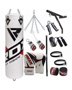 RDX F10 White 4ft Filled 17pc Punch Bag with 12oz Gloves