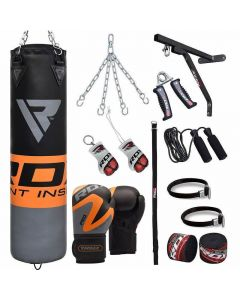 RDX F12 Orange 4ft Filled 17pc Punch Bag with 12oz Gloves