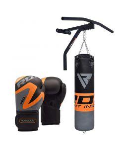 RDX F10 Orange 5ft Punch Bag & Pull Up Bar With 12oz Gloves