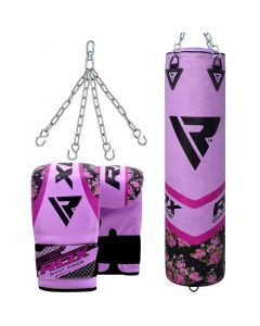 RDX F14 Floral purple 4ft Filled Punching Bag set