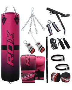 RDX F15 Pink 4ft Filled 17pc Punch Bag Set