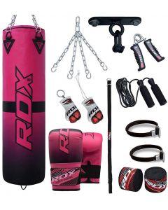 RDX F15 Pink 4ft Filled 13pc Punch Bag Set