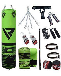 RDX F16 Green 5ft Filled 13pc Punch Bag Set