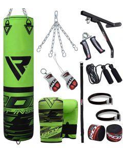 RDX F16 Green 5ft Filled 17pc Punch Bag Set