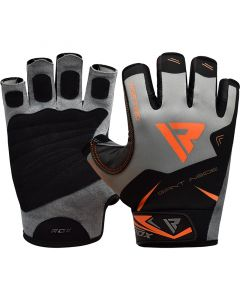 RDX F22 Small Orange Lycra Weight Lifting Gym Gloves