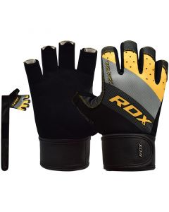 RDX F42 Small Yellow Lycra Weight Lifting Gym Gloves