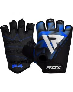 RDX F4 Bodybuilding Gym Gloves Blue Small