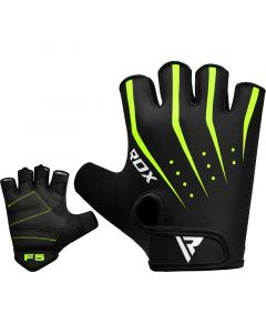 RDX F5 Small Green Lycra Weight Lifting Gym Gloves