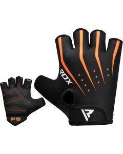 RDX F5 Small Orange Lycra Weight Lifting Gym Gloves