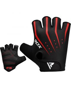 RDX F5 Small Red Lycra Weight Lifting Gym Gloves