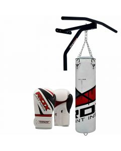 RDX Ego Red 5ft Punch Bag & Pull Up Bar With 12oz Gloves