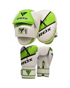 RDX F7 Ego 12oz Green Leather X Boxing Gloves & Pads Set