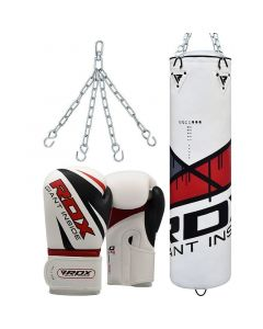RDX F7 Ego Red 4ft Filled Punch Bag with 12oz Gloves