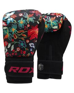 RDX FL3 Floral 8oz Black Leather X Boxing Gloves