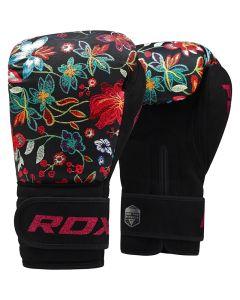 RDX FL3 Floral 8oz Black Leather X Boxing Gloves