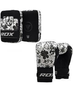 RDX FL4 8oz White Leather X Boxing Gloves With Focus pads