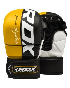 RDX T6 Small Yellow Leather X MMA Grappling Gloves