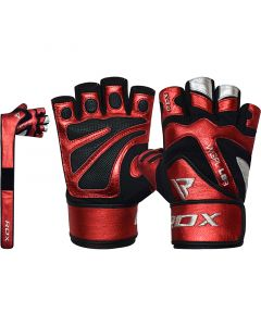 RDX L8 Small Red Leather Gym Gloves with Wrist Support