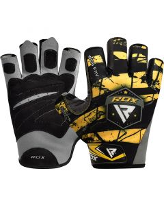 RDX F11 Small Yellow Lycra Bodybuilding Gym Gloves