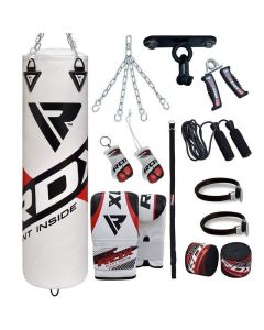 RDX F10 White 4ft Filled 13pc Punch Bag set with Mitts