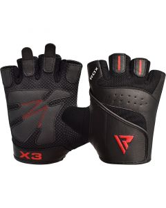 RDX S2 Small Black Leather Weight Lifting Gloves