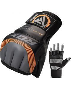 RDX T10 Nemesis S/M Orange Leather X MMA Gloves