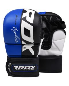 RDX T6 Small Blue Leather X MMA Grappling Gloves