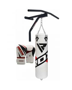 RDX F10 White 5ft Punch Bag & Pull Up Bar With 12oz Gloves