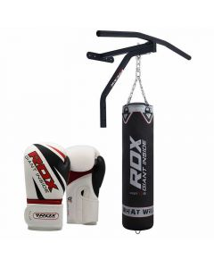 RDX F10 Black 5ft Punch Bag & Pull Up Bar With 12oz Gloves