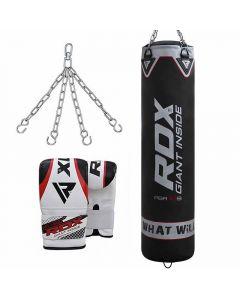 RDX X1 Black 4ft Unfilled Punch Bag With Bag Gloves
