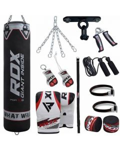RDX X1B Black 4ft Filled 13pc Punch Bag set with Mitts